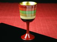 ワイングラス独楽(こま)塗り単品赤