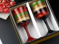 ワイングラス独楽(こま)塗りペア